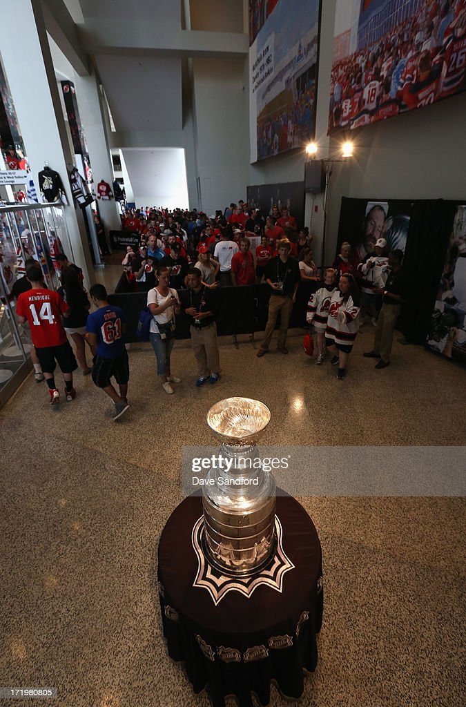 The Stanley Cup on display for fans during the 2013 NHL Draft - Fan Fest and Memorabilia Show at Prudential Center on June 30, 2013 in Newark, New Jersey.