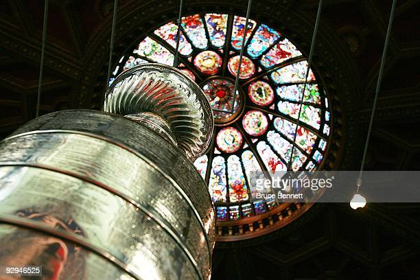 The Stanley Cup on display in the Great Hall at the Hockey Hall of Fame on November 9 2009 in Toronto Canada