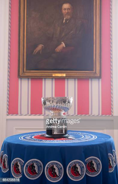 The Stanley Cup original bowl is displayed under a portrait of Lord Stanley during the Stanley Cup Homecoming as part of the Stanley Cups 125th...