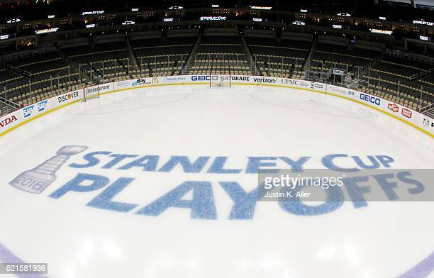 The Stanley Cup Playoffs logo is seen on the ice before Game Two of the Eastern Conference Quarterfinals between the Pittsburgh Penguins and the New...