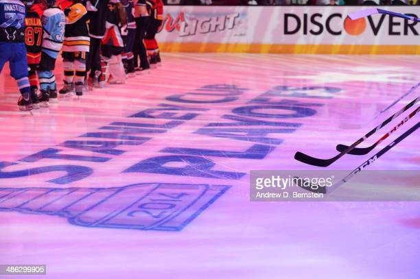 The Stanley Cup Playoffs logo is seen on the ice before the San Jose Sharks face off against the Los Angeles Kings in Game Three of the First Round...