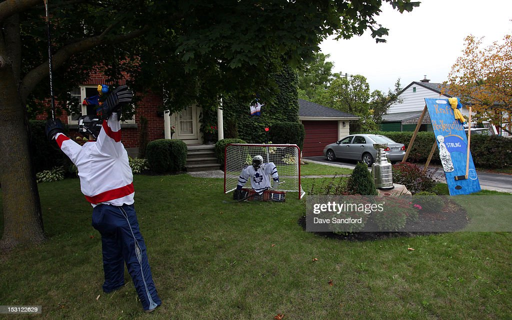 The Stanley Cup sits on the lawn of one of the local residents of Stirling during Kraft Hockeyville Day 1 on September 30, 2012 in Stirling, Ontario, Canada.