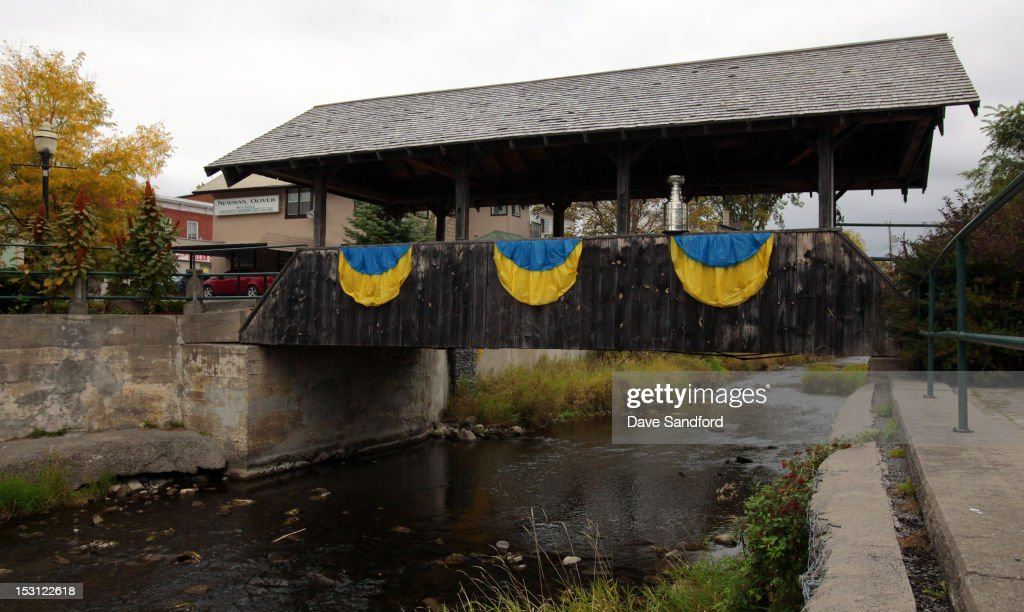 The Stanley Cup sits under a covered bridge during Kraft Hockeyville Day 1 on September 30, 2012 in Stirling, Ontario, Canada.