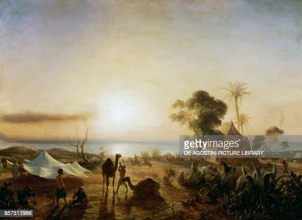 The Staoueli camp with Ibrahim Aga's tent day of the French army landing June 14 French conquest of Algeria painting by Jean Antoine Theodore de Gudin