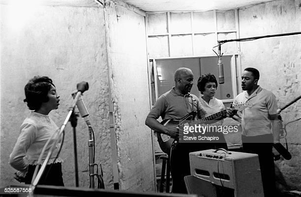 The Staple Singers in recording studio