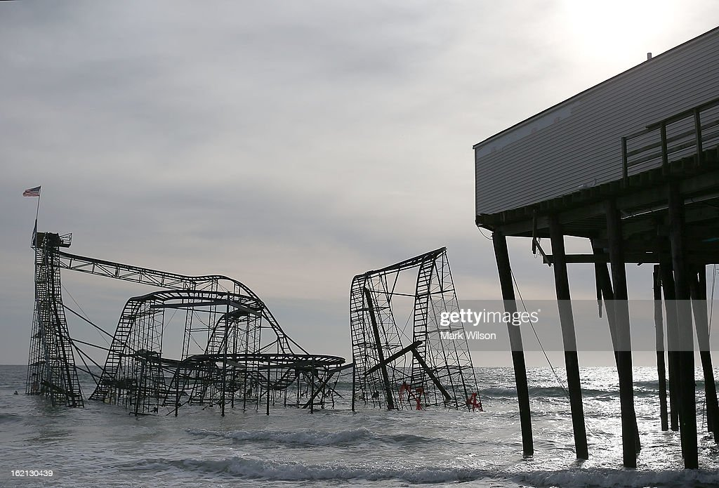 The Star Jet roller coaster remains in the water after the Casion Pier it sat on collapsed from the forces of Superstorm Sandy, February 19, 2013 in Seaside Heights, New Jersey. Governor Chris Christie has estimated that damage in New Jersey caused by Superstorm Sandy could reach $37 billion.
