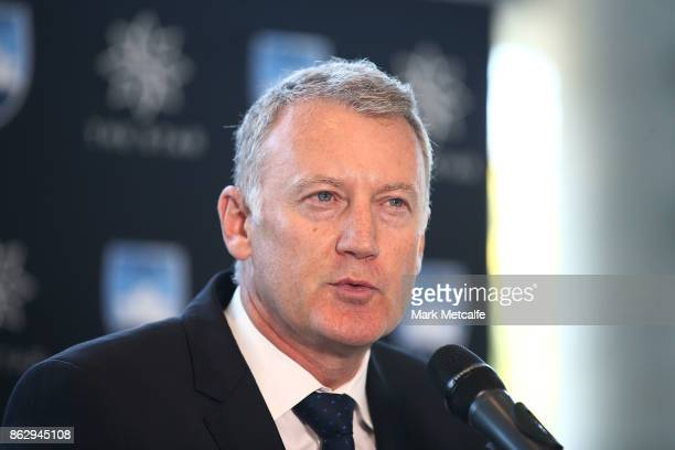 The Star Managing Director Greg Hawkins talks to media during a Sydney FC ALeague sponsorship announcement at The Star on October 19 2017 in Sydney...