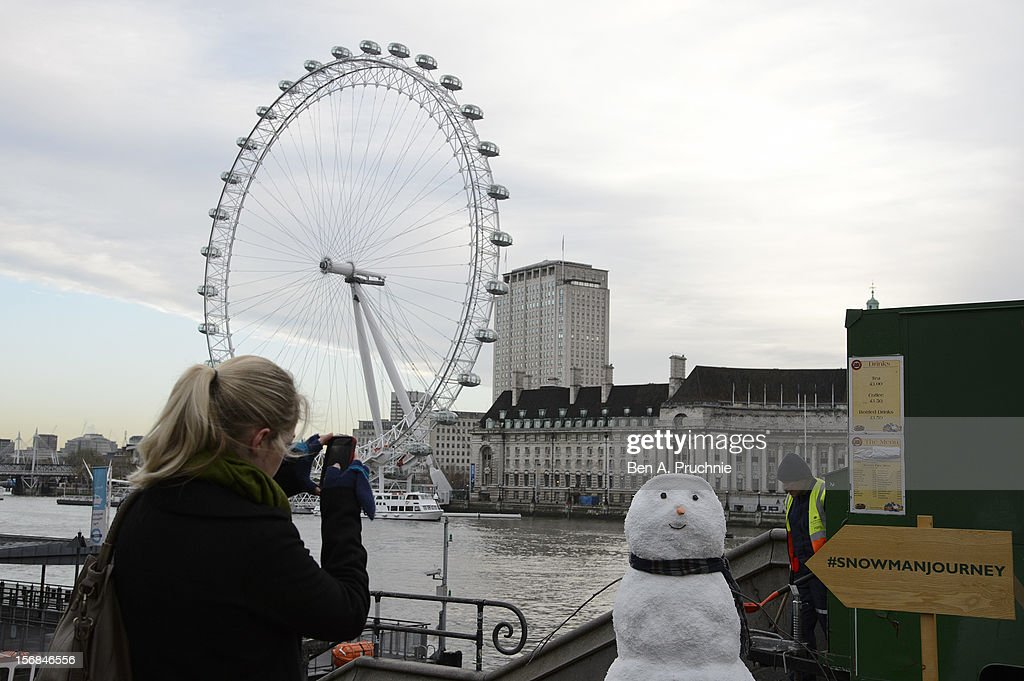 The star of the John Lewis Christmas advert has been making his way across the country much to the surprise and delight of passers by. He's travelled by boat, crossed lakes, been ice skating and even helped turn on Newcastle's Christmas lights. He's now making his way in store so keep an eye out for him at John Lewis this weekend and share your sightings of him on twitter with #snowmanjourney, or follow @johnlewisretail at London Eye on November 23, 2012 in London, England.