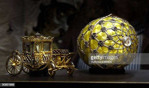 The star piece of Viktor Vekselberg's collection a 24 millions US dollar Faberge 1897's 'Coronation Egg' is displayed at an exhibition in the Kremlin...