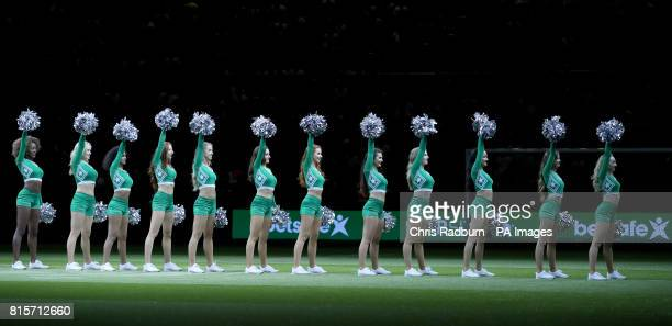 The Star Sixes cheer leaders perform during the final of the Star Sixes Tournament between France and Denmark at The O2 Arena London PRESS...