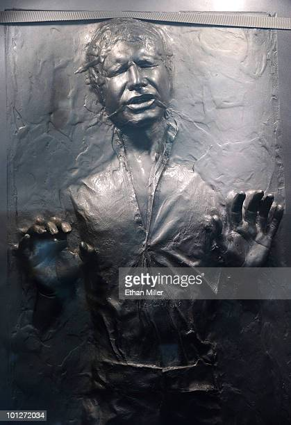 The Star Wars prop of actor Harrison Ford's Han Solo character frozen in carbonite is displayed at the museum exhibit of 'Star Wars In Concert' at...