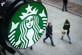 The Starbucks logo is pictured outside a branch of the coffee shop chain in Dublin Ireland on February 25 2016 / AFP / LEON NEAL