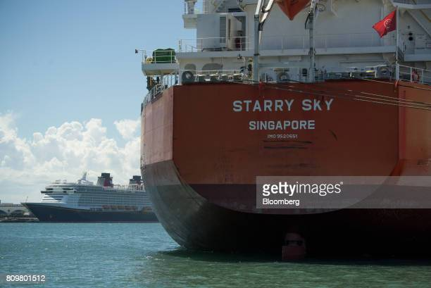 The Starry Sky bulk carrier ship sits docked as ground granulated blast furnace slag is unloaded at Port Canaveral in Cape Canaveral Florida US on...