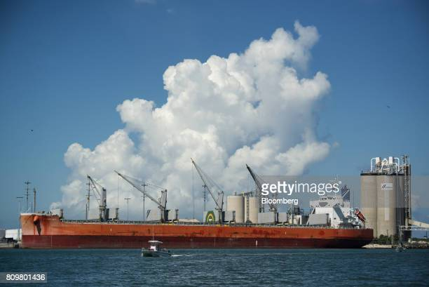 The Starry Sky bulk carrier ship sits docked in front of Cemex SAB towers at Port Canaveral in Cape Canaveral Florida US on Wednesday July 5 2017 The...