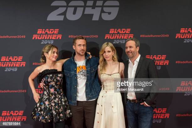 The stars and filmmakers of 'BLADE RUNNER 2049' actors Ryan Gosling Ana de Armas Sylvia Hoeks and director Denis Villeneuve appear in Barcelona on...