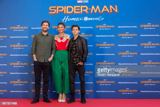 The stars and filmmakers of 'SPIDERMAN HOMECOMING' actors Tom Holland Zendaya and director Jon Watts appear in Barcelona on the occasion of the...