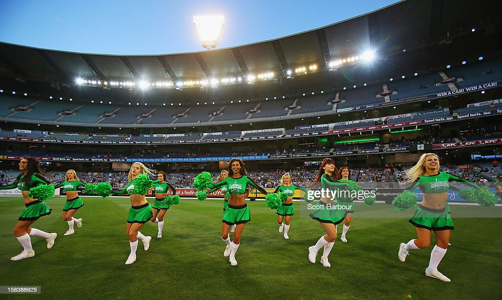 The Stars cheerleaders perform during the Big Bash League match between the Melbourne Stars and the Hobart Hurricanes at the Melbourne Cricket Ground on December 15, 2012 in Melbourne, Australia.