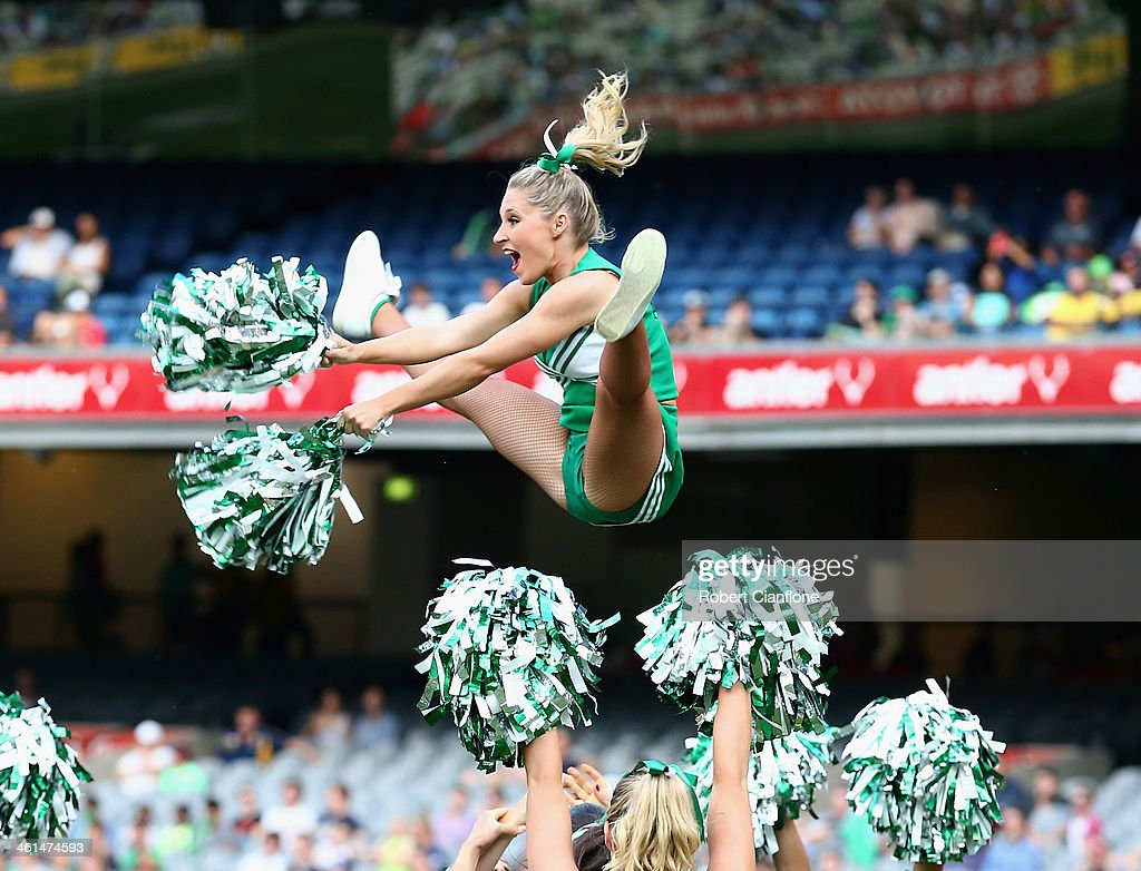 The Stars cheerleaders perform prior to the Big Bash League match between the Melbourne Stars and the Adelaide Strikers at the Melbourne Cricket Ground on January 9, 2014 in Melbourne, Australia.