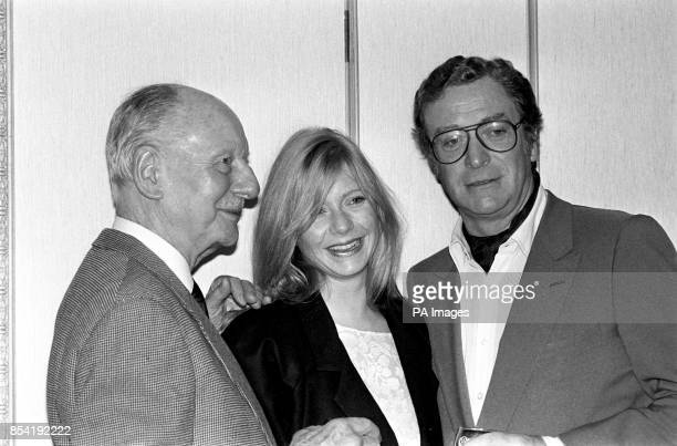 The stars of political thriller The Whistle Blower meet in a London hotel before the start of filming Sir John Gielgud Felicity Dean and Michael Caine