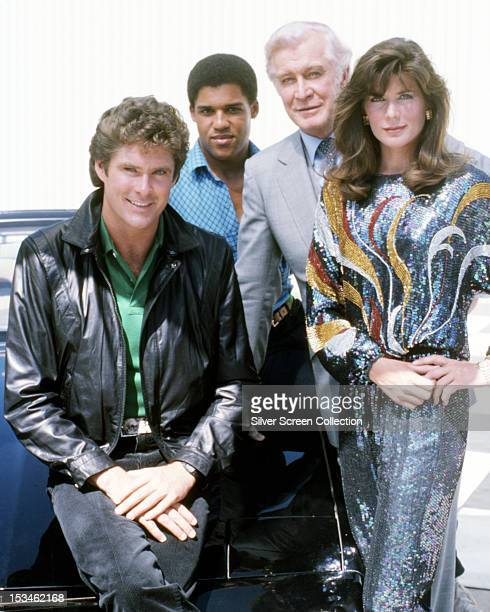 The stars of the American TV show 'Knight Rider' circa 1985 Left to right David Hasselhoff Peter Parros Edward Mulhare and Patricia McPherson