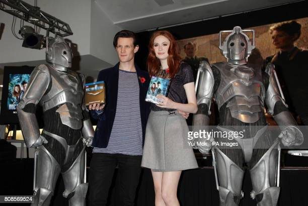 The stars of the show Matt Smith and Karen Gillan posing with Cybermen during an instore signing for the DVD boxset of BBC1 TV show Dr Who in central...