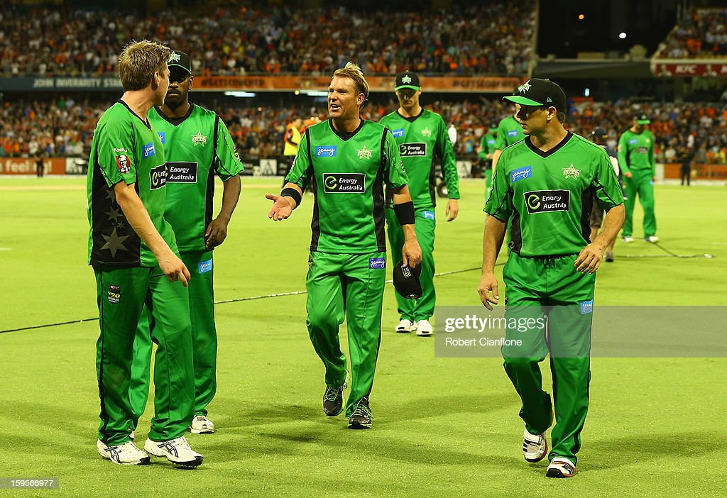 The Stars walk from the ground after they were defeated by the Scorchers during the Big Bash League semi-final match between the Perth Scorchers and the Melbourne Stars at the WACA on January 16, 2013 in Perth, Australia.
