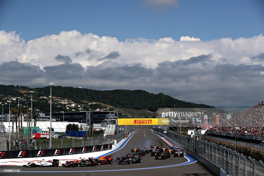 The start during the Formula One Grand Prix of Russia at Sochi Autodrom on May 1, 2016 in Sochi, Russia.
