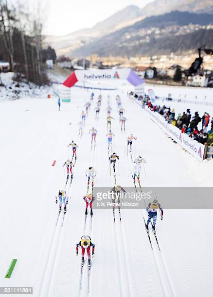 The start during the women's 10 km C Mass Start on January 7 2017 in Val di Fiemme Italy