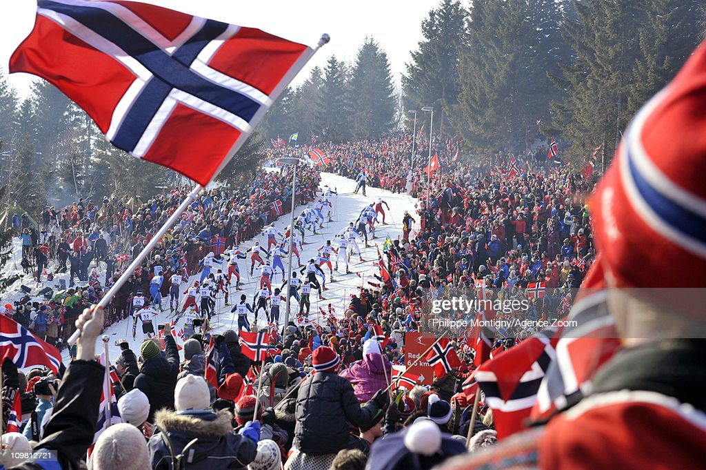 The start is pictured during the FIS Nordic World Ski Championships CrossCountry Men's 50km Mass Start on March 6 2011 in Oslo Norway