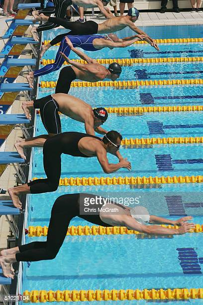 The start of heat 3 in the men's swimming event of the modern pentathlon on August 26 2004 during the Athens 2004 Summer Olympic Games at the Olympic...