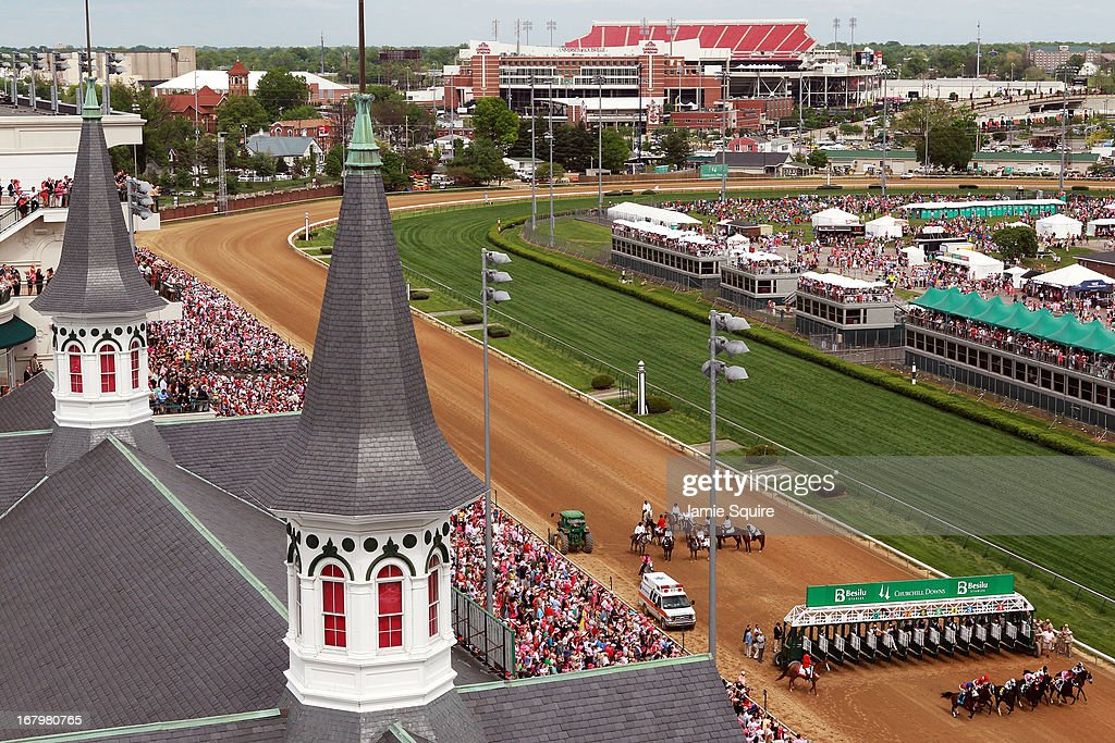 The start of Race #9 on Kentucky Oaks day at Churchill Downs on May 3, 2013 in Louisville, Kentucky.