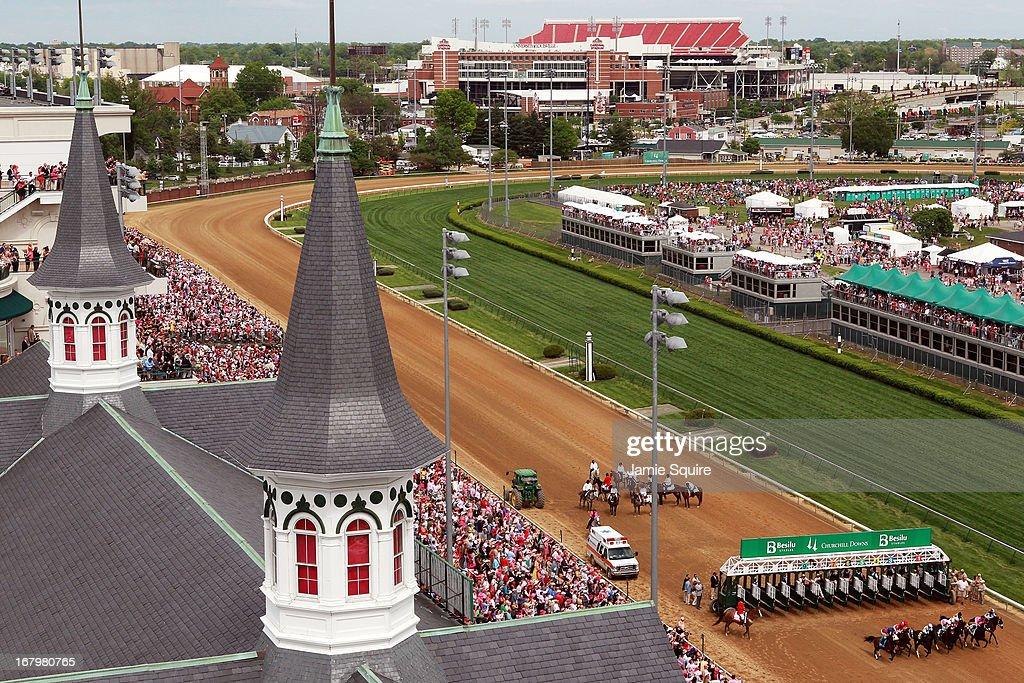 The start of Race #9 on Kentucky Oaks day at Churchill Downs on May 3, 2013 in Louisville, Kentucky.