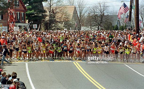 The start of the 103rd running of the Boston Marathon 19 April 1999 in Hopkinton Massachusetts The year's field of runners is the second largest for...