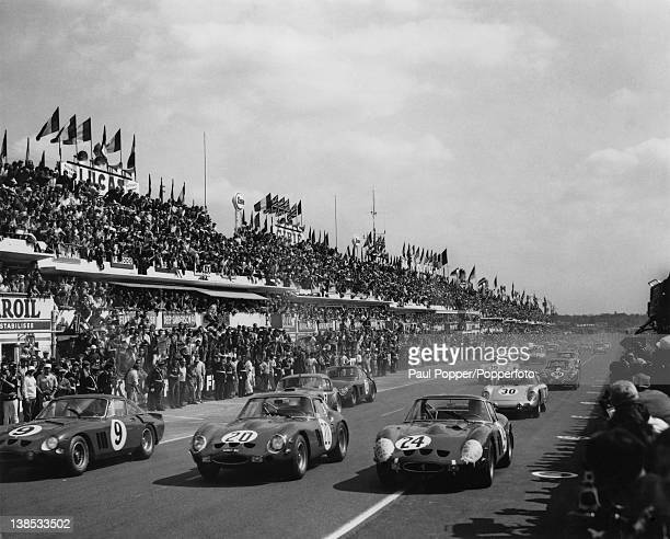 The start of the 1963 24 Hours of Le Mans France 15th June 1963 Number 9 Ferrari is driven by Guichet/Noblet Number 20 Ferrari is driven by...