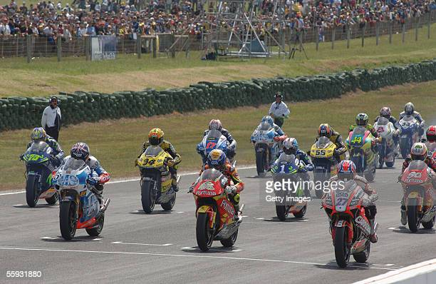 The start of the 250cc Grand Prix at the Phillip Island Circuit October 16 2005 in Phillip Island Australia