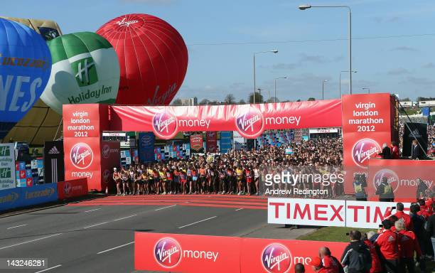 The start of the Elite Men's and general competitors race at the Virgin London Marathon 2012 on April 22 2012 in London England