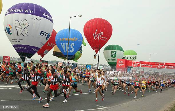 The start of the Elite Men's race during the 2011 Virgin London Marathon on April 17 2011 in London England