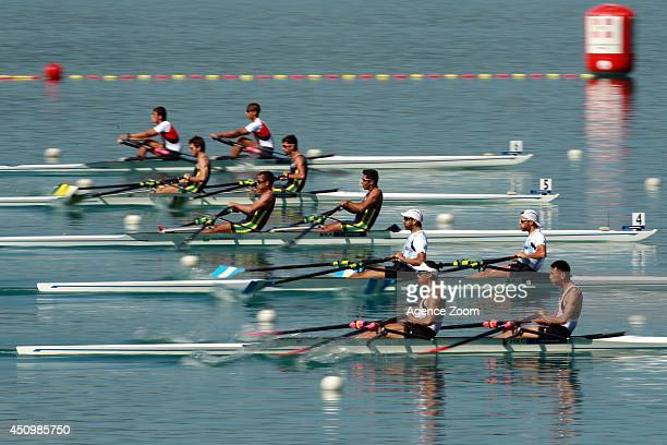 The start of the Lightweight Men Double Sculls during the World Rowing Cup II on Saturday 21 June 2014 Aiguebelette France