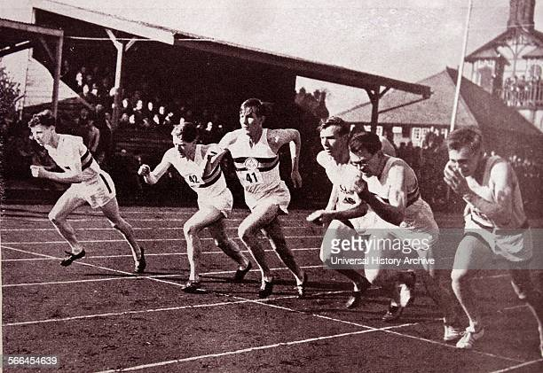 The start of the race when Roger Bannister broke the world's mile record