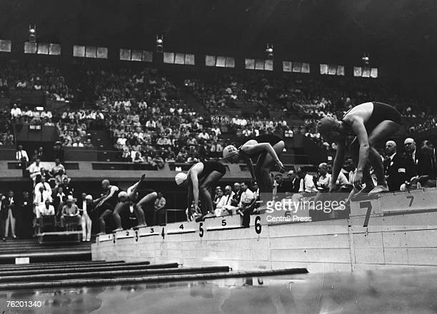 The start of the second heat of the Women's 100Metres Freestyle event at the Empire Pool Wembley during the London Olympics 30th July 1948 The winner...