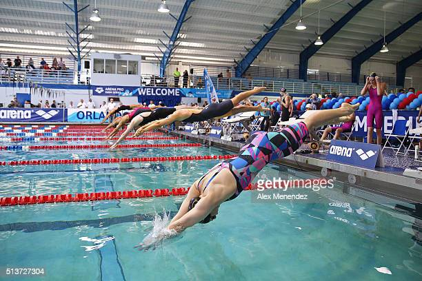 The start of the Womens 50 LC meter freestyle is seen during day two of the Arena Pro Swim Series at the YMCA of Central Florida Aquatic Center on...