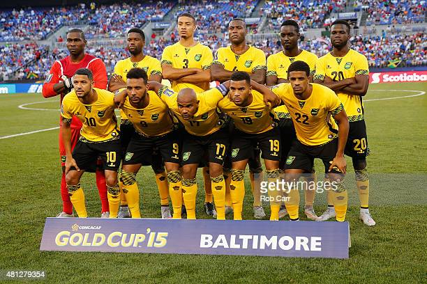 The starters for team Jamaica pose for a photo before the start of their match against Haiti during the 2015 CONCACAF Gold Cup quarterfinal match at...