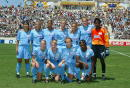 The starters for the Atlanta Beat pose for a photo before the Founders Cup Championship Match against the Washington Freedom on August 24 2003 at...