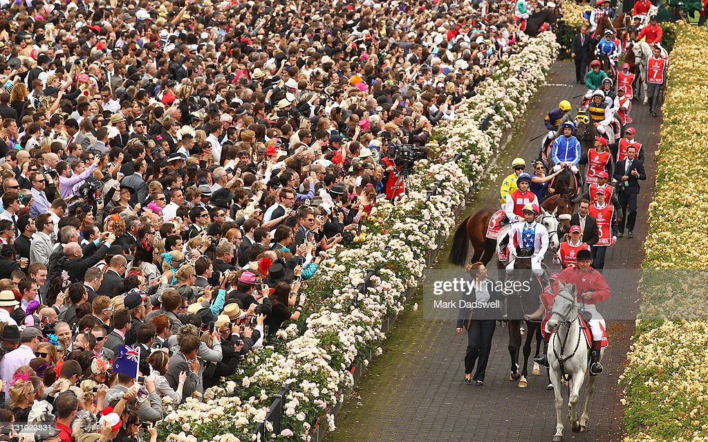 The starters for the Cup are led out through the roses for the start of the race during Melbourne Cup Day at Flemington Racecourse on November 1, 2011 in Melbourne, Australia.