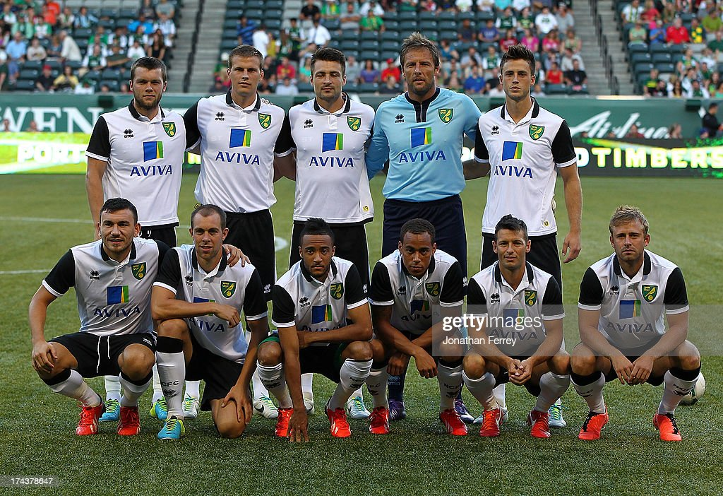 The starters of Norwich City pose for a photo before the match against the Portland Timbers on July 24, 2013 at Jeld-Wen Field in Portland, Oregon.