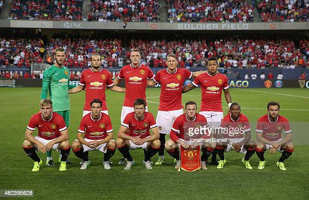 The starting 11 for Manchester United pose before a match against Paris SaintGermain in the 2015 International Champions Cup at Soldier Field on July...