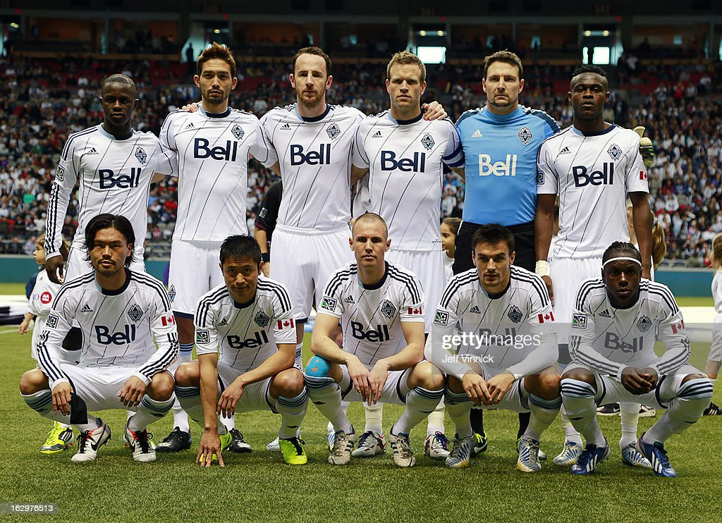 The starting 11 for the Vancouver Whitecaps FC pose for a team photo before playing against the Toronto FC for their MLS game at BC Place on March 2, 2013 in Vancouver, British Columbia, Canada.