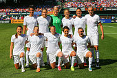 The starting 11 members of the New Zealand National Women's Soccer team pose for photograph prior to playing against the United States at Busch...