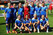 The starting 11 members of the US National Women's Soccer team pose for photograph prior to playing against New Zealand at Busch Stadium on April 4...