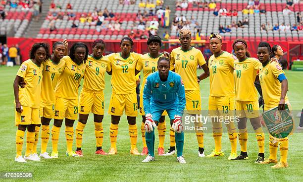 The starting 11 of Cameron poses for a photo prior to the start of the FIFA Women's World Cup Canada 2015 Group C match between Cameroon and Ecuador...